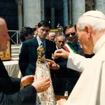 Pope John Paul II crowns the statue of Our Lady of the Caves, 1997